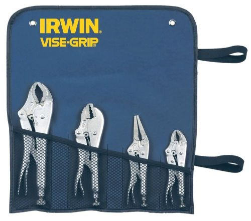 Irwin Vise Grip Mole Grip Locking Plier Set in Tool Roll Wallet Straight Jaw  Long Nose 10CR 7R 6LN 5WR